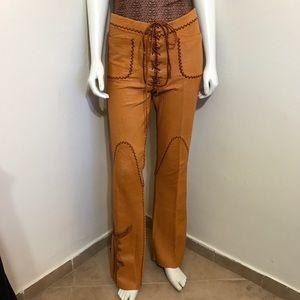 Vintage 60s RARE North Beach Leather Tan Pants S 2